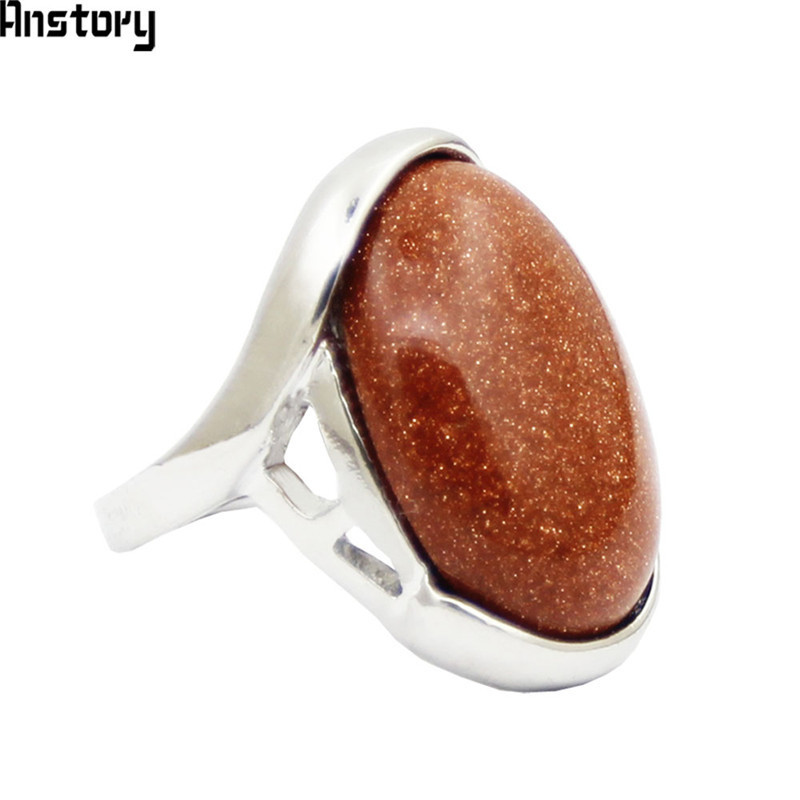 Big Golden Sequins Stone Rings For Women Vintage Look Antique Silver Plated Rhinestone Fashion Jewelry TR654