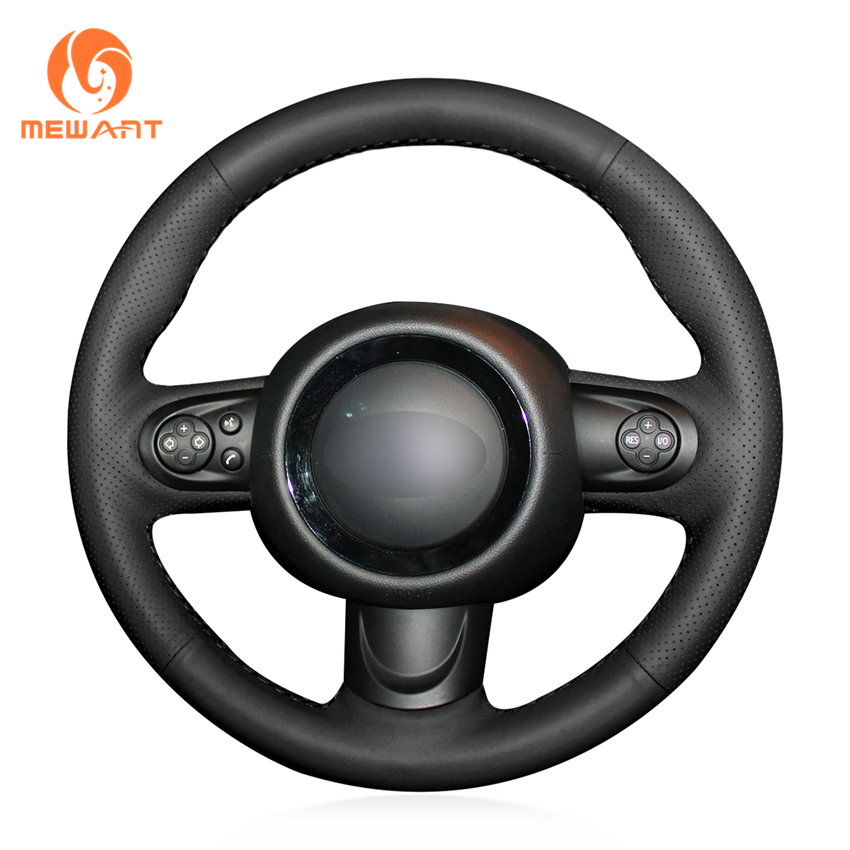 MEWANT Hand-stitched Black Artificial Leather Comfortable Soft Anti-slip Hand Sew Wrap Steering Wheel Cover for Mini Coupe