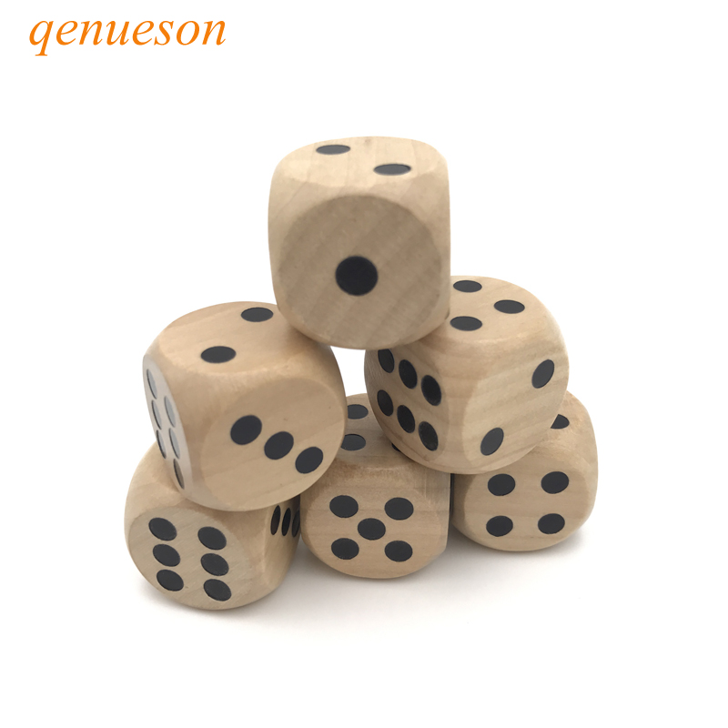 8 Pcs/Lots High quality 25mm Woodiness Drinking Dice Solid Wood Puzzle Children Interesting Teaching Dice Set Wholesale qenueson