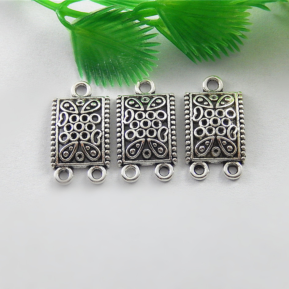 20pc/lot Antique Silver Square Necklace Pendant 23*14mm Handmade Charms Connector Vintage Creative Bracelet Jewelry Making 51553